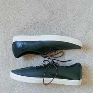 Vans sneaker skate shoes black leather canvas 13